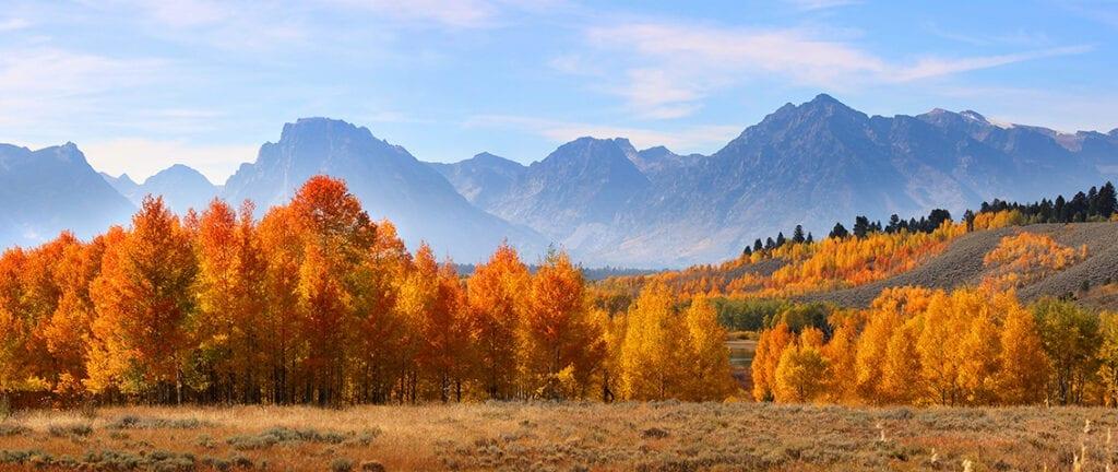 Panoramic view of Grand Tetons national mountain range
