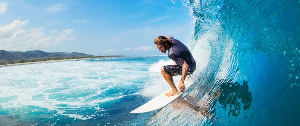 Surfing on the fantastic waves of Hawaii