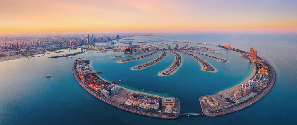 Palm Islands from birdview during twilight