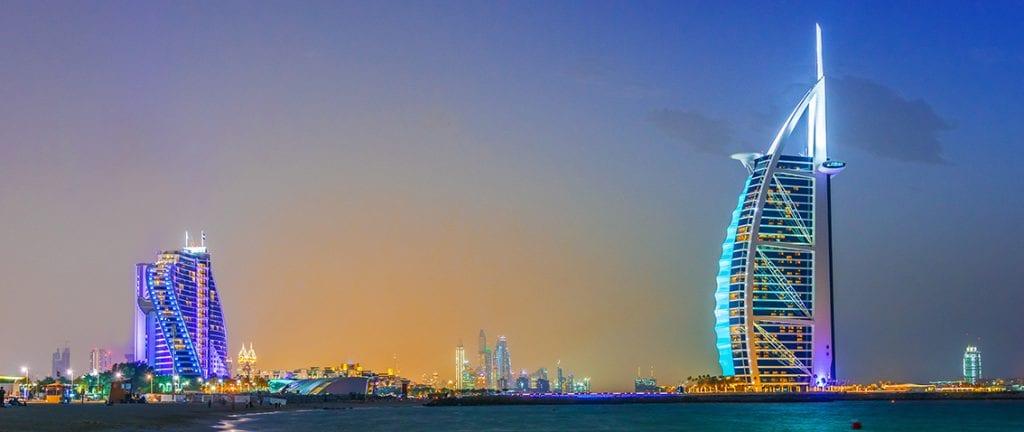 Dubai eveining skyline with Burj Al Arab