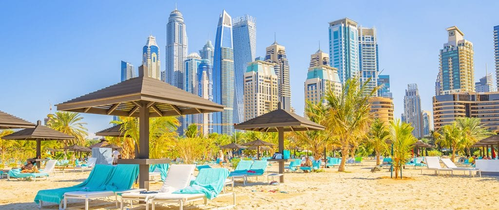 JBR Beach and Dubai city skyline, UAE