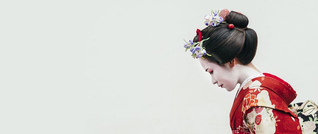 Japanese woman wearing traditional Kimono