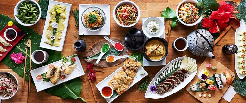 Amazing selection of foods from a Japanese cuisine