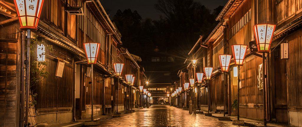 Lanterns and street at night in Higashi Chayagai, Kanazawa, Japan.