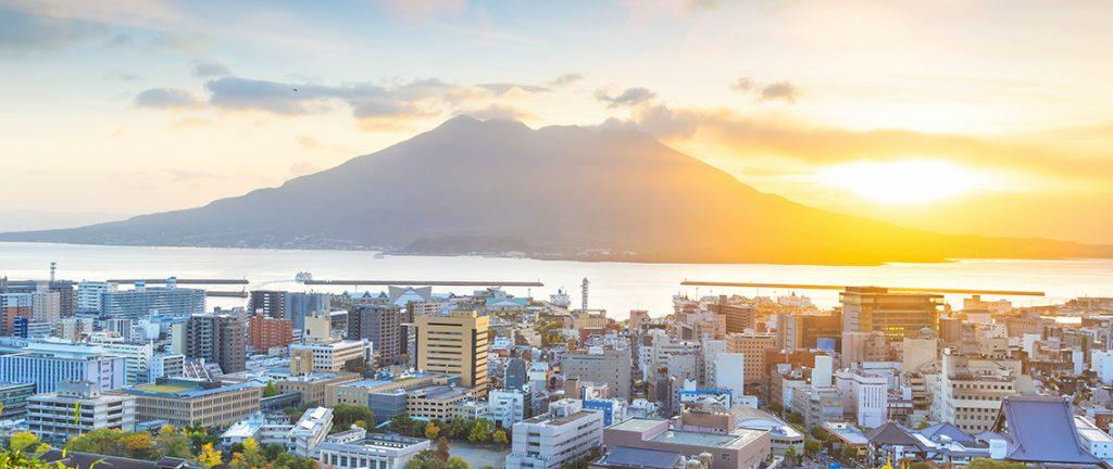 Kagoshima city landscape with Sakurajima volcano