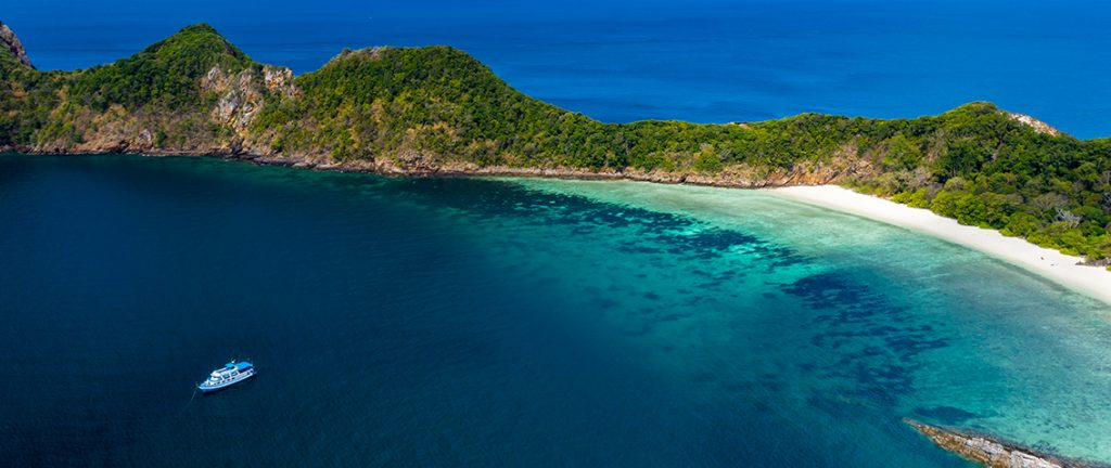 Aerial drone view of the tropical Ba Wei